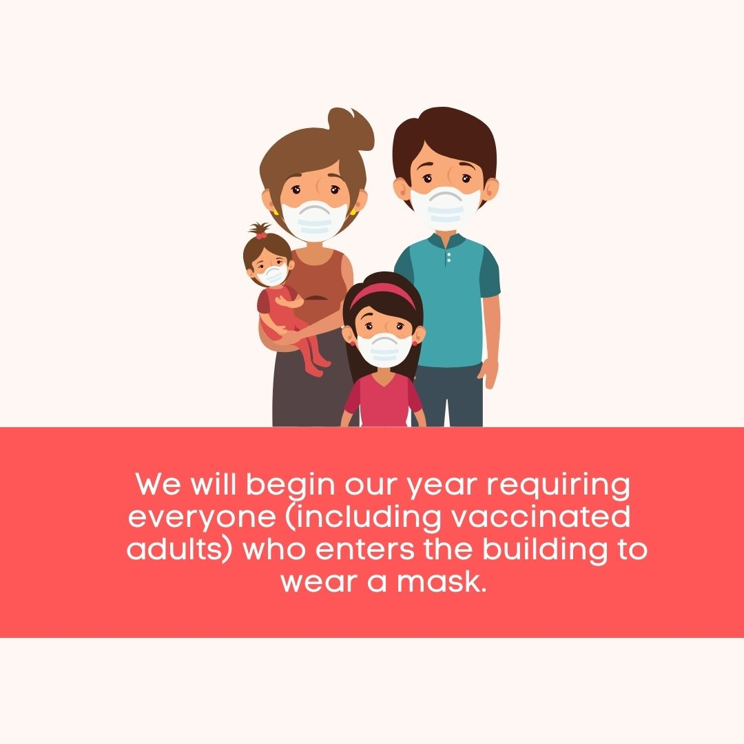 We are requiring all individuals, including vaccinated adults, to wear masks in Derry Preschool.